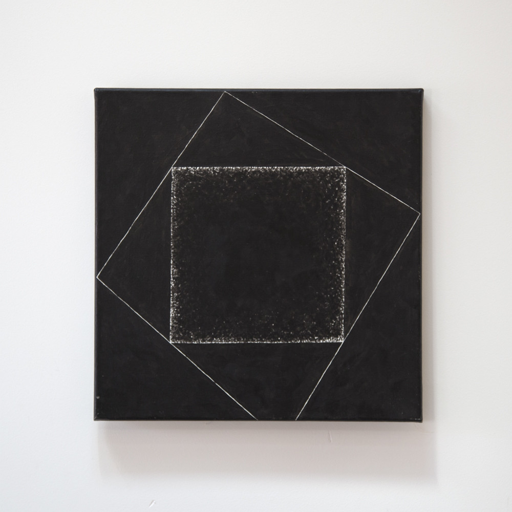 Foto schwarzes Quadrat im schwarzen Quadrat, Frontansicht Vorschau