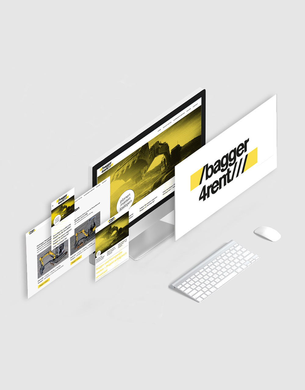 Dokumentation, Corporate Design, www.bagger4rent.ch, bagger4rent, Vorschau